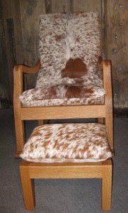 Hair on Oak Rocker with Footstool